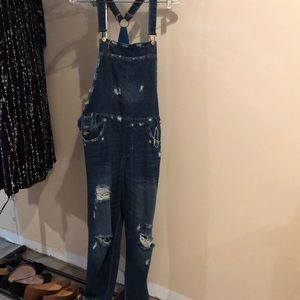 Ripped overall pants